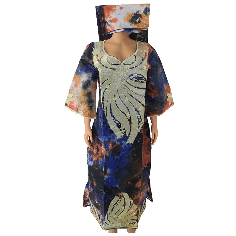 MD Stickerei Afrikanische Kleider Frauen Bazin Riche Baumwolle Kleid Dashiki Frauen Robe Kaftan Dame Lange Kleider Hochzeit Party Kleidung