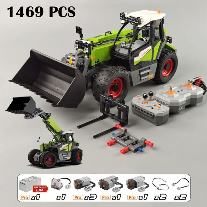 عالية التقنية الميكانيكية الكهربائية التحكم عن بعد سيارة شاحنة متعددة الوظائف محمل اللبنات حفارة ألعاب مكعبات للأولاد هدية