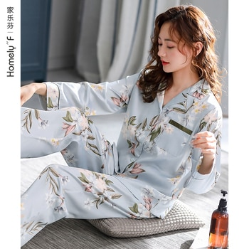 Pajamas Women's Spring and Autumn Silk Ice Silk Long Sleeve Home Wear Spring and Summer Thin Artificial Silk Mother