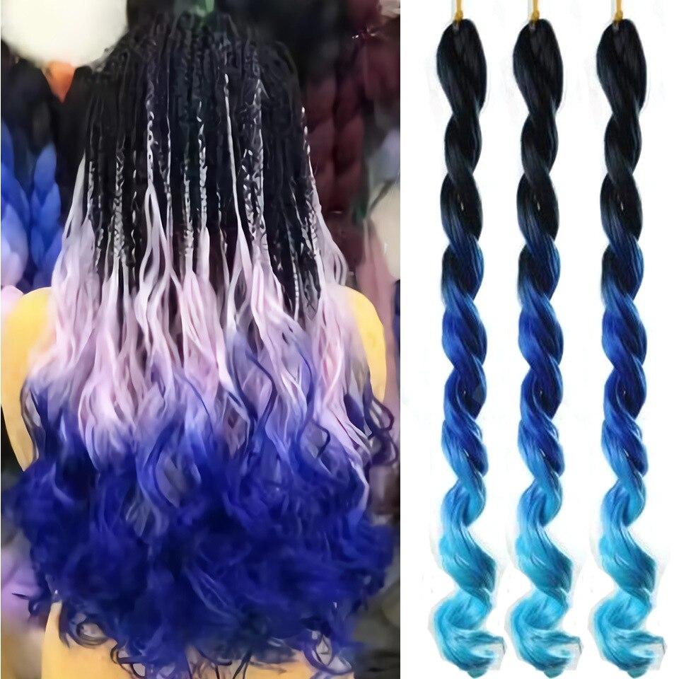 Weilai 20 Polegada trança extensão do cabelo gigante grande onda trança sintético penteado 100 g/pc puro loira rosa verde colorido gradiente