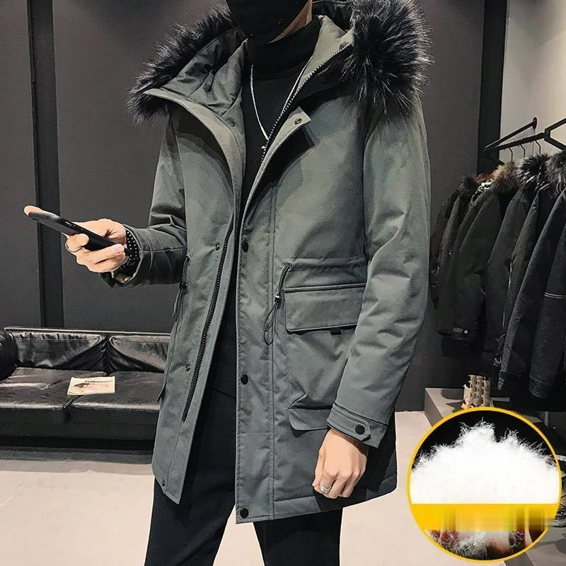 Повседневный мужской пуховик, модное зимнее Мужское пальто, толстый теплый мужской пуховик с капюшоном, длинная куртка на белом утином пуху...