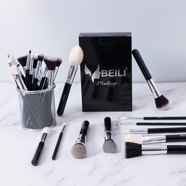 Beili Black Makeup Brushes Set Professional Natural Goat Hair Brushes Foundation Powder Contour Eyeshadow Make Up Brushes Azhealthstore