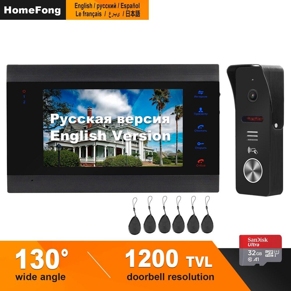 HomeFong interphone vidéo pour appartement 1200TVL 130 degrés soutien mouvement détecter enregistrement serrure électrique CCTV caméra pour interphone à la maison