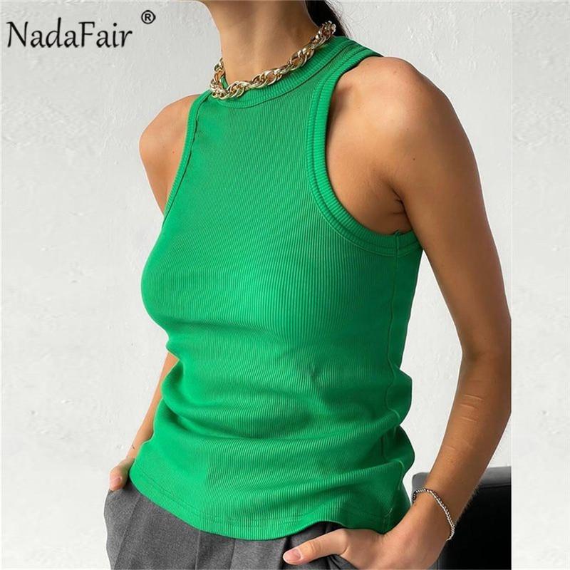 Nadafair Ribber Knitted Tops Femme O Neck Summer Basic Shirts White Black Casual Sport Vest Off Shoulder Green Women's Tank Top