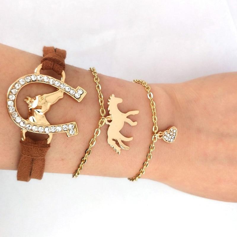 hzew 3 pcs/set  Leather rope horse head horseshoe bracelet gold color heart bracelets