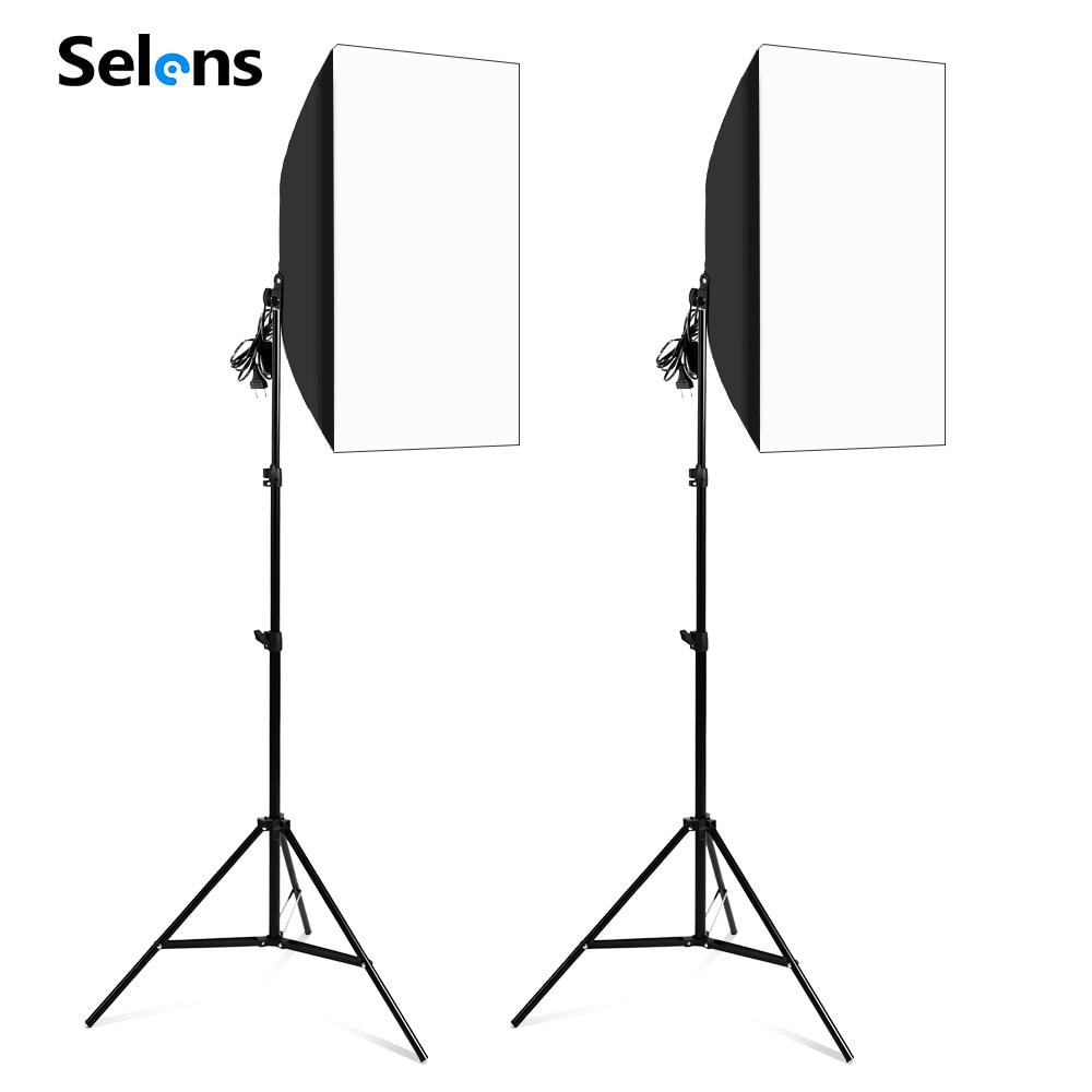 2 قطعة التصوير الفوتوغرافي سوفت بوكس عدة إضاءة 50x70 سنتيمتر المهنية نظام إضاءة مستمرة مع E27 المقبس لمعدات استوديو الصور
