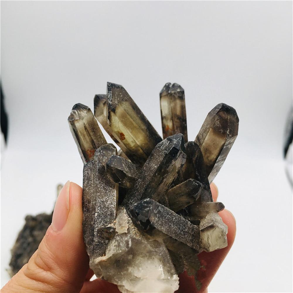 Cluster de quartzo esfumaçado natural decoração cluster de cristal preto reiki cura ponto coluna resistente à radiação decoração artesanato