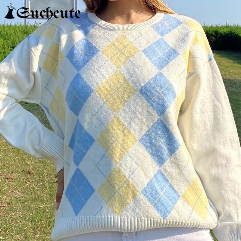 Suchcute argyle xadrez bonito camisola feminina pulôver y2k estilo preppy o pescoço manga comprida malha 2020 outono streetwear