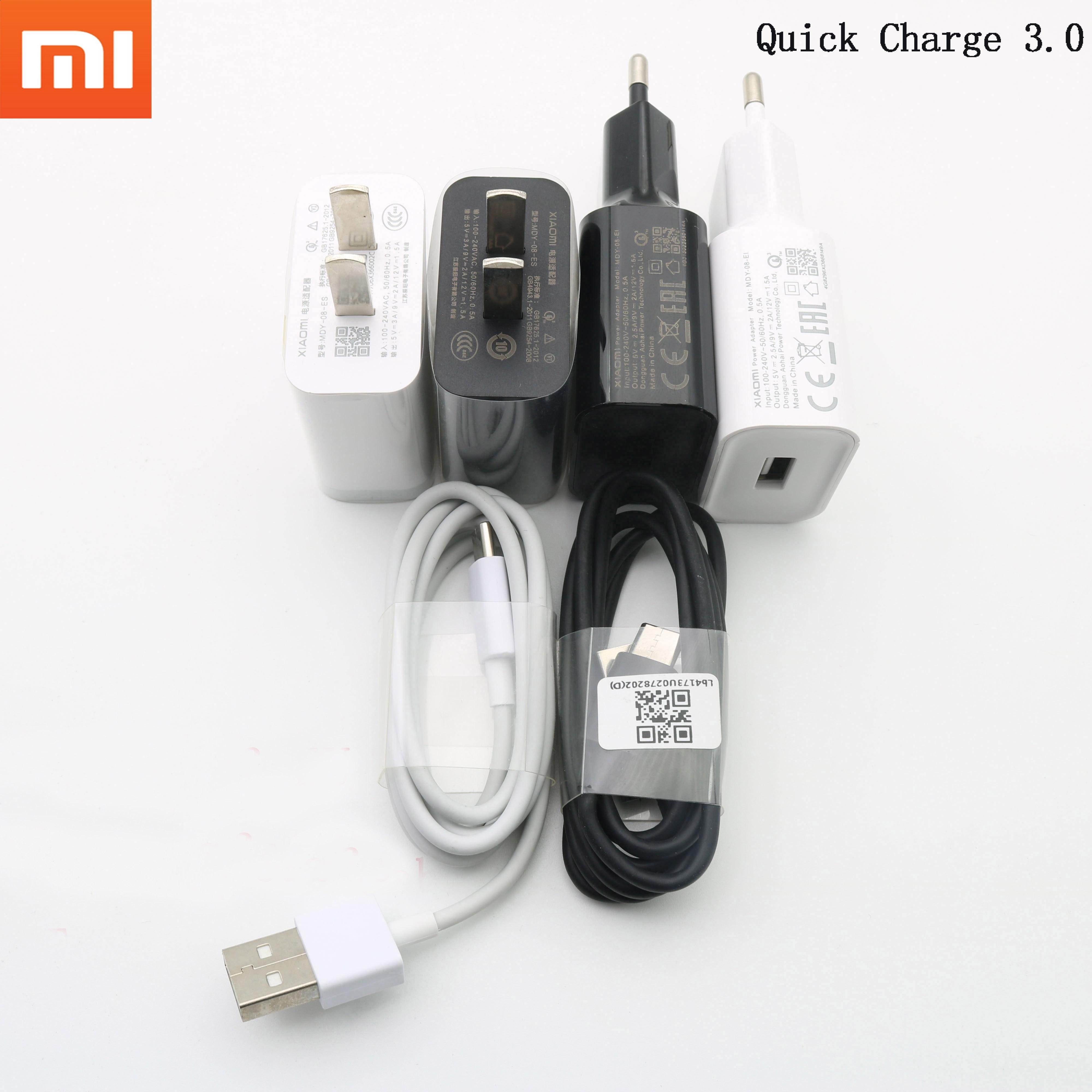 Быстрое зарядное устройство Xiao mi, оригинальный QC 3,0 адаптер для быстрой зарядки USB type c для mi 6 a2 a3 8 9 lite se 9 9t pro max 3 redmi note 7 8 pro