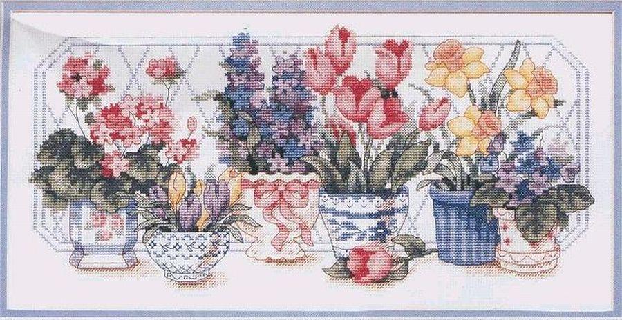 Набор хлопковых милых вышитых крестиков со счетным счетом, несколько цветов и горшков, несколько цветов, 01442, 1442