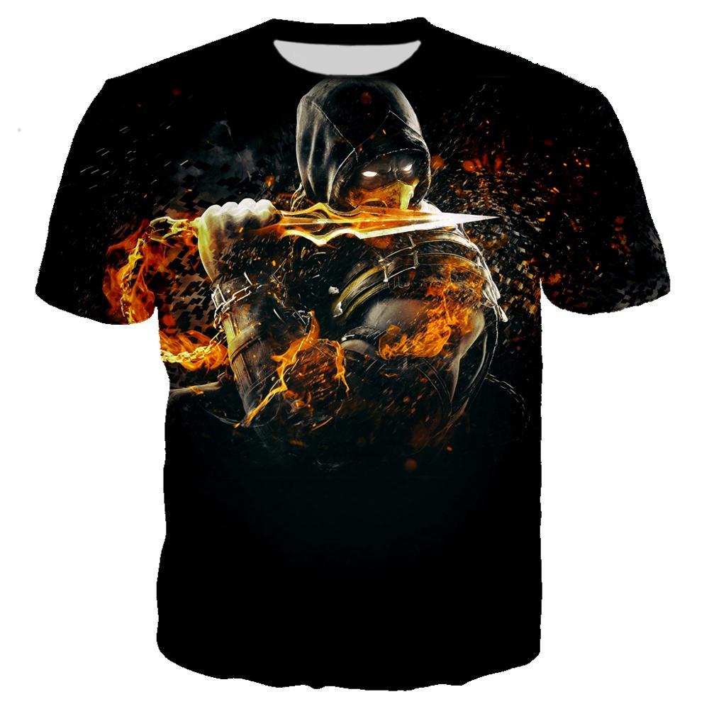 Camiseta con estampado 3D de juego Mortal Kombat para hombre/mujer Ropa Casual de calle Harajuku para hombre Camiseta hombre Ropa Hip Hop para 6XL