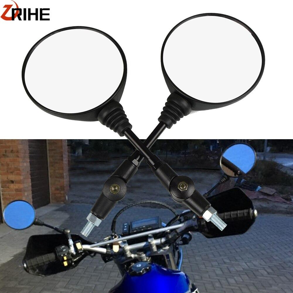 Universal 10mm 8mm One Pair Round Motorcycle Mirror Rear View Mirrors For E-Bike Honda Scooter Kawasaki Suzuki Yamaha