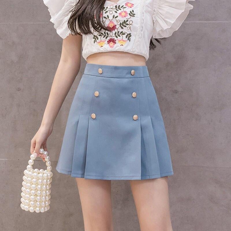 Летние мини-юбки для женщин 2020, двубортные, с высокой талией, тонкие, корейские, шифоновые шорты, юбки, черные, Kawaii, плиссированные, Faldas Mujer