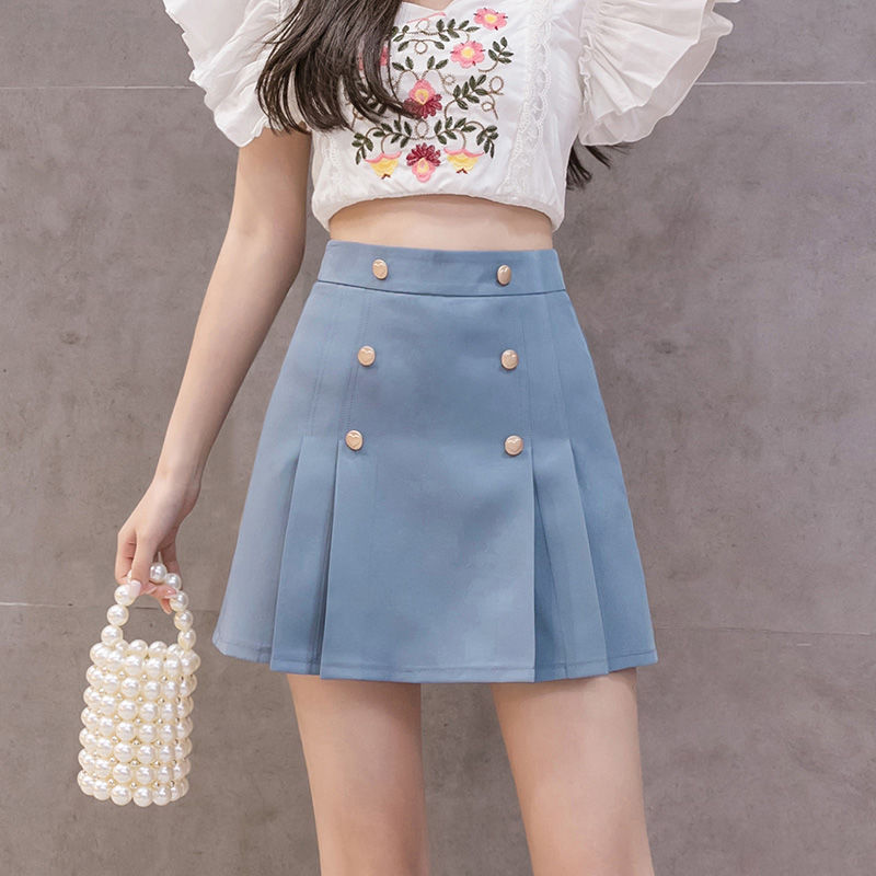 2020 verano Mini Faldas para mujeres de doble pecho cintura alta Slim coreano Shorts de gasa Faldas negro Kawaii plisado Faldas Mujer