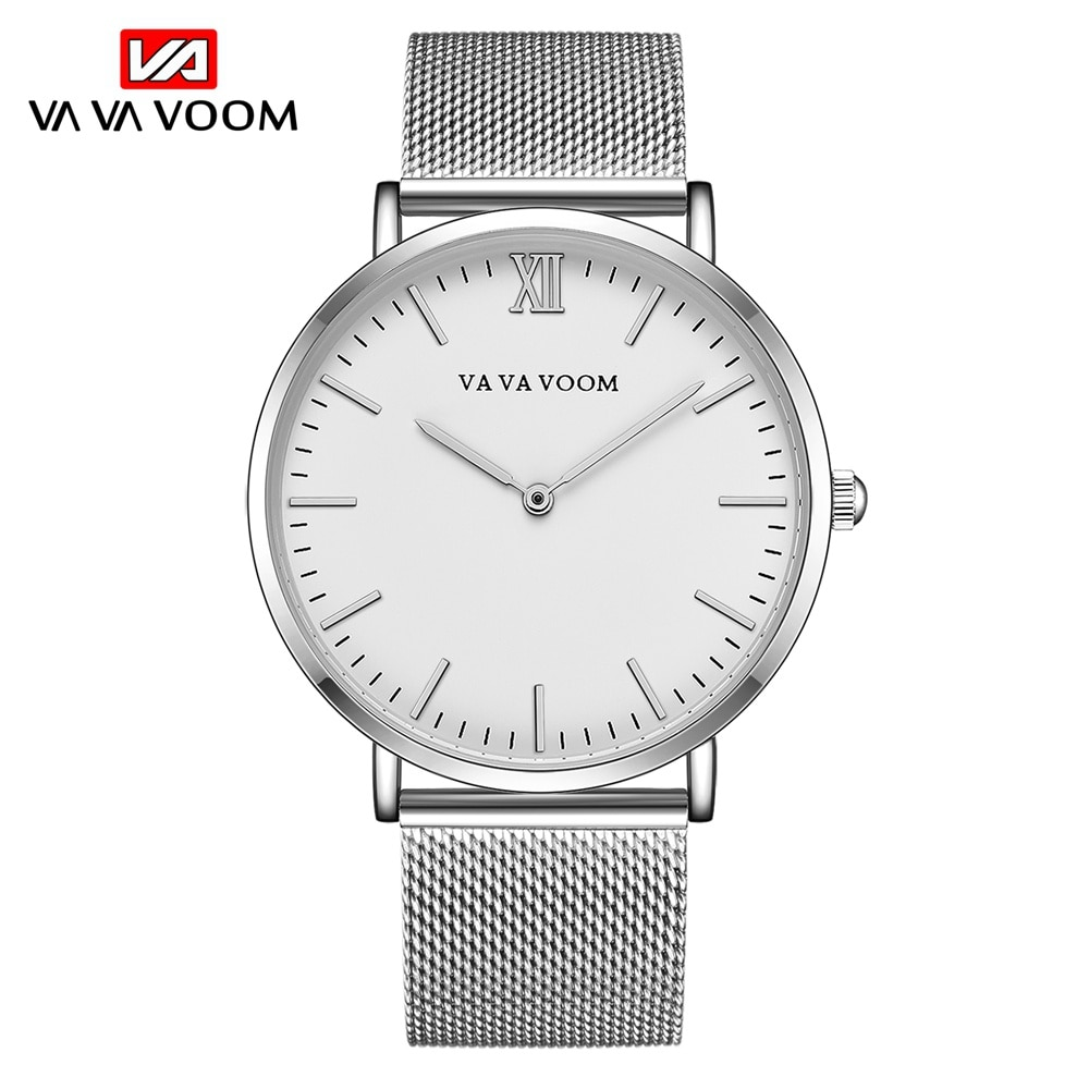 2021Men's Watch Fashion Business Ultrathin Simple Top Brand Silver Stainless Steel Mesh Belt Waterpr
