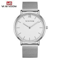 2021Men\'s Watch Fashion Business Ultrathin Simple Top Brand Silver Stainless Steel Mesh Belt Waterproof Quartz Relogio Masculino