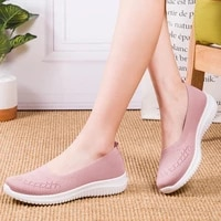 women casual shoes light sneakers breathable mesh summer knitted vulcanized shoes outdoor slip on sock shoes plus size