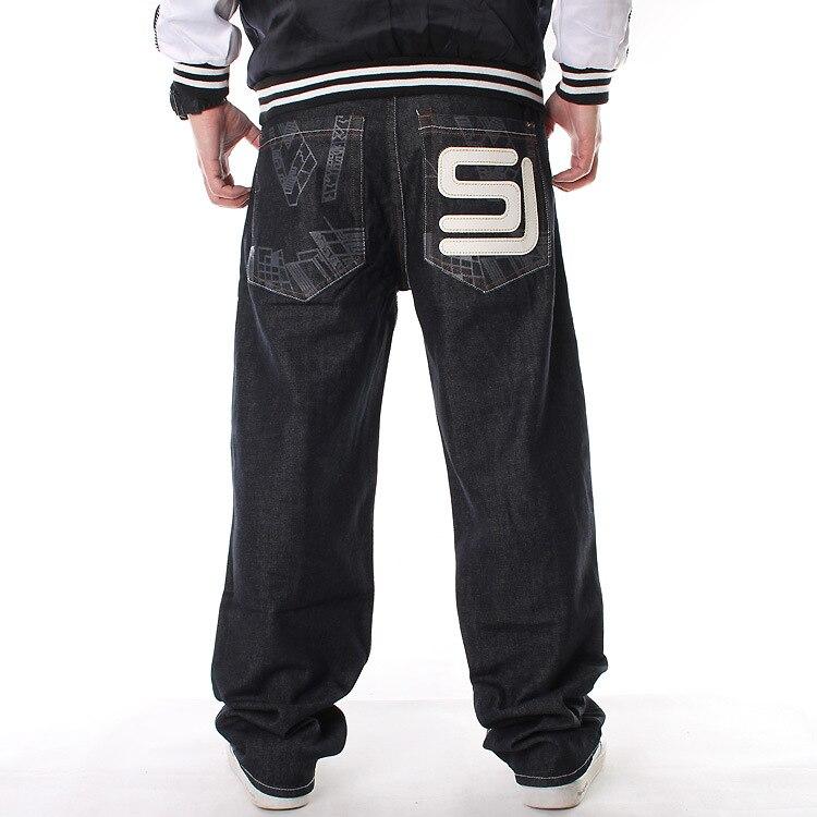 European and American tide men's wear plus fertilizer plus oversized denim trousers hip-hop printing loose skateboard pants 42