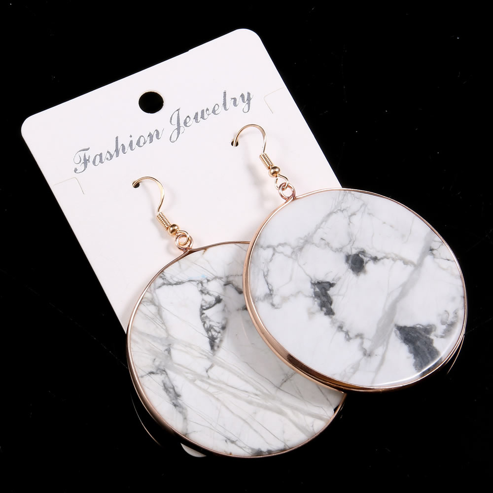 Fashion Design Earrings for Women Natural Stone Turquoises Rose Quartzs Handmade Dangle Earring Exquisite Jewelry Gift 50x50mm  - buy with discount
