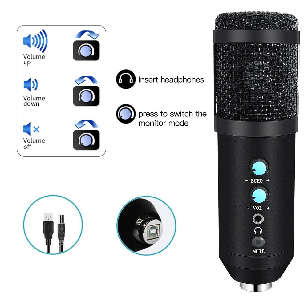 USB Microphone Condenser Home Studio Recording Microfone Profissional For Laptop PC Karaoke Microfono For Twitch Streaming enlarge