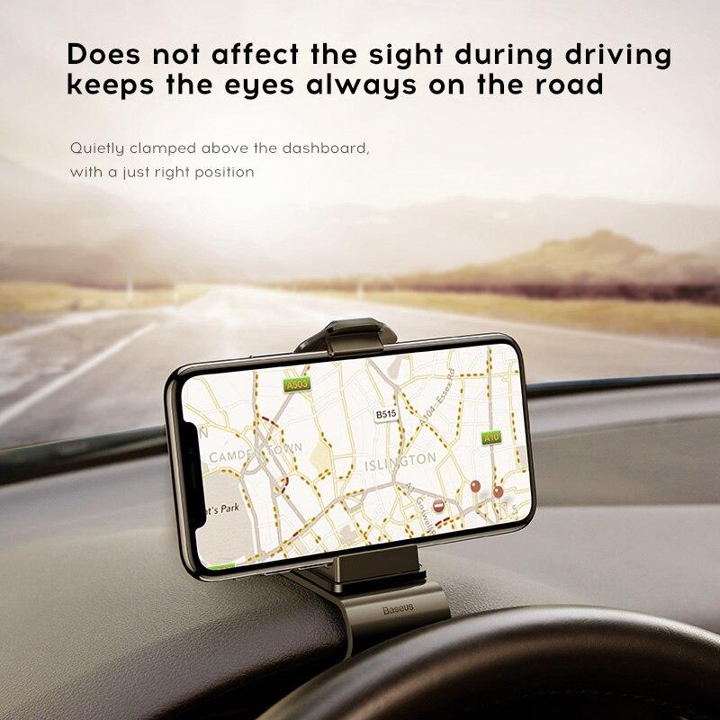 Soporte para teléfono Baseus Dashboard para iPhone 11 Pro Samsung Huawei Clip Mount Car Holder no magnético soporte para teléfono móvil