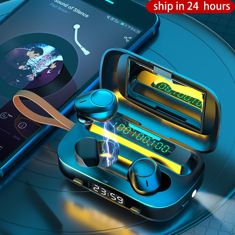 TWS auriculares Bluetooth 5,1 auriculares inalámbricos 2000mAh carga 9D estéreo deportes impermeable auriculares con micrófono