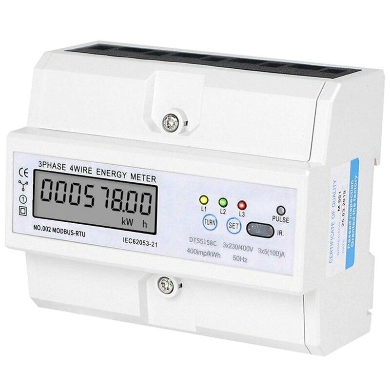 HHO-3 x 5 (100) un riel DIN trifásico 4 Cable LCD Digital Wattmeter consumo de energía electrónica medidor de energía 3x230/400 (V)