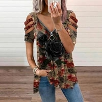 womens print shirts v neck zipper hollow out tank tops short sleeve shirts casual loose tees top oversized summer streetwear r5