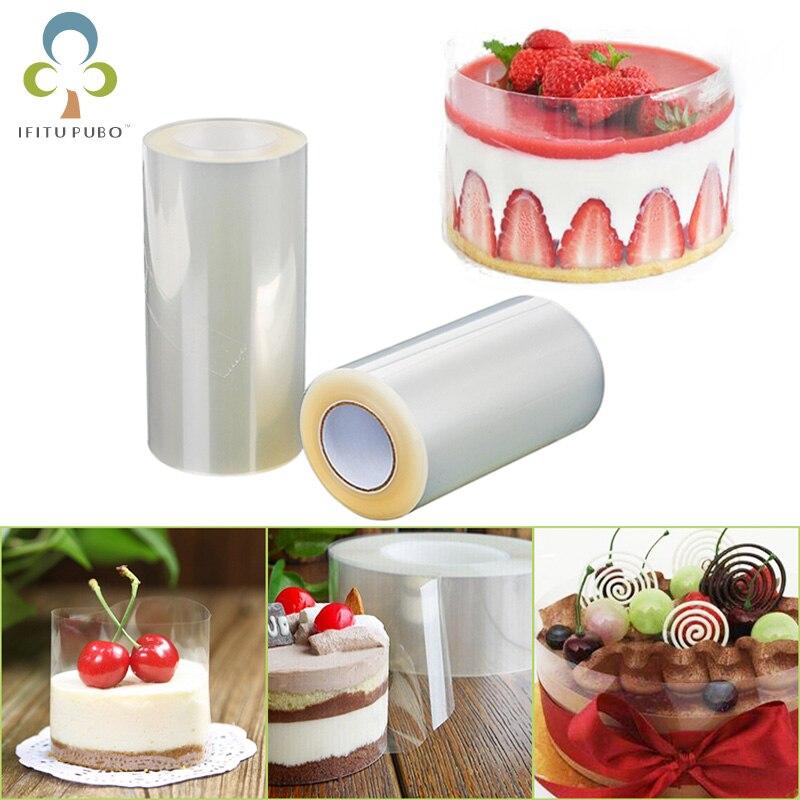 1 rollo de pastel transparente Collar Mousse borde circundante cocina pastel Chocolate dulces para hornear película envolvente forro moldes anillos ZXH