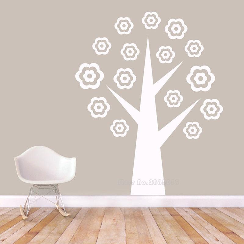 Vinilo decorativo de pared de árbol con flores, ramas de árboles, bosque, vinilo, pegatinas de pared, bosque, guardería, habitación infantil, arte, papel tapiz de decoración LL2213