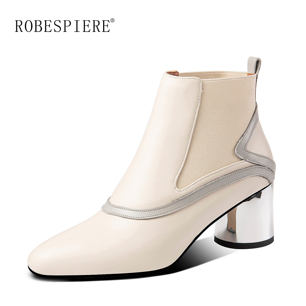 Botas de tacón de Metal ROBESPIERE botas de Chelsea para mujer zapatos calientes de cuero genuino zapatos sexis de Punta puntiaguda tacones altos zapatos de talla grande B97
