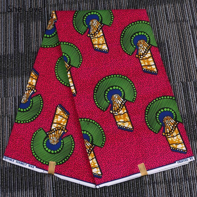 She Love 1Yard Ankara African Polyester Red Fan-shaped Print Fabric Handmade Real Wax Batik Fabric For Women Party Dress Making
