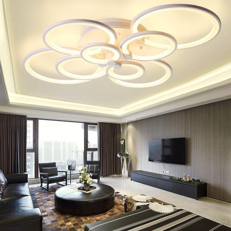 Modern ceiling light led lights for room 4/6/8/10 rings lamp suspension luminaire ceiling lamp living room bedroom decoration