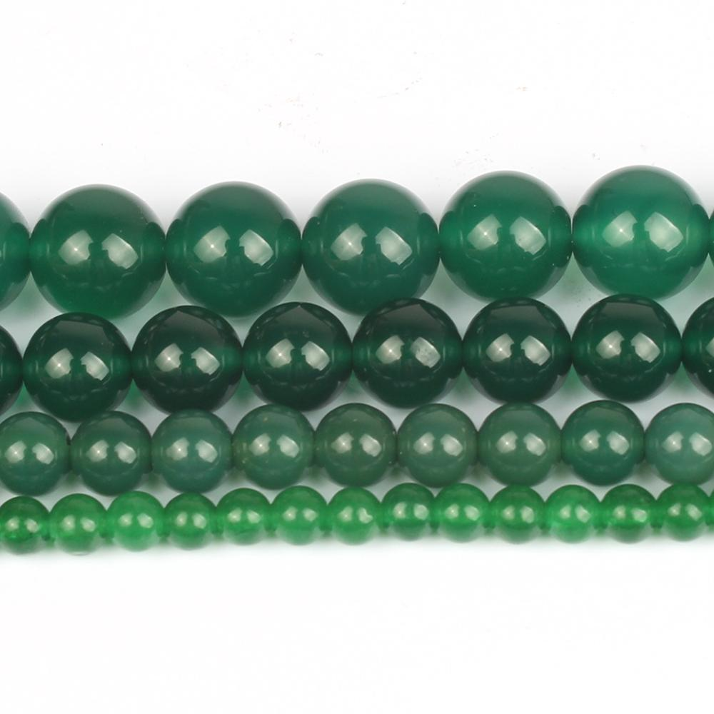 6/8/10/12mm Smooth Natural Green Agates Onyx Stone Beads For Diy Bracelet Accessories Jewellery Maki