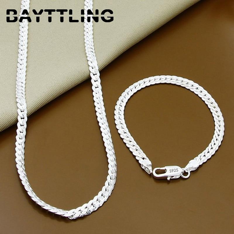 bayttling-925-стерлингового-серебра-2-предмета-в-комплекте-для-детей-5-мм-полный-Боком-цепи-ожерелье-браслет-для-женщин-и-мужчин-Модные-Ювелирные
