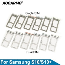Aocarmo For Samsung Galaxy S10 / S10+  S10plus Single/Dual Metal Plastic Nano Sim Card Tray MicroSD