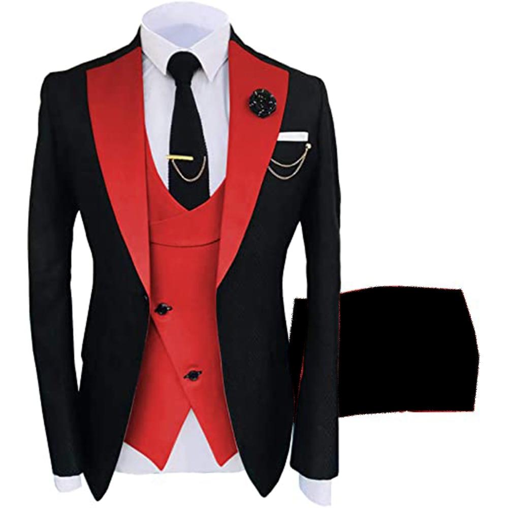 أسود/أحمر ملابس العريس الرجال الدعاوى مجموعة لل زفاف 3 قطع ذروتها Laple سترة سترة السراويل بليزر مخصص سليم صالح البدلات معطف