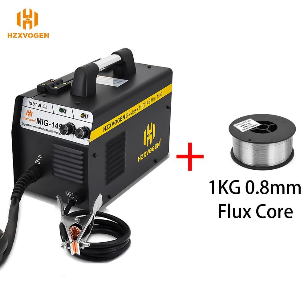 220 فولت hzxvolone MIG145 شبه التلقائي آلة لحام MIG لحام مع 1 كجم 0.8 مللي متر تدفق الأساسية 0.4-4 مللي متر لحام الحديد Gasless