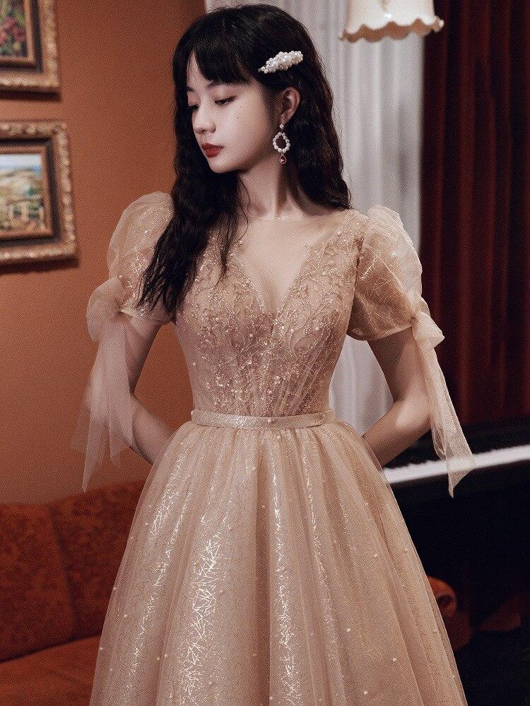 2021 New Fashion Evening Dress Illusion O-neck Short Sleeve Prom Dresses a Line Floor Length Beading