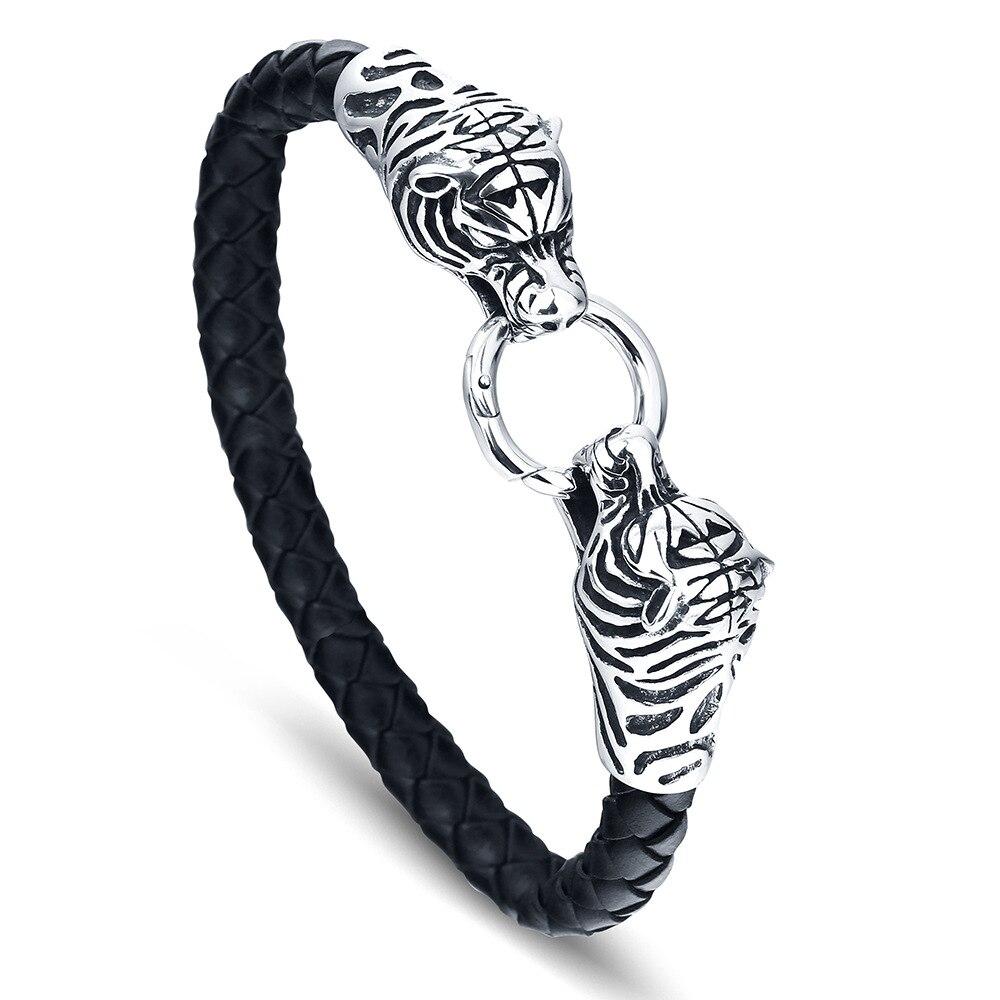 Novo dominador titânio aço duplo animal cabeça envoltório pulseira viking trançado pulseiras de couro pulseiras pode abrir jóias masculinas