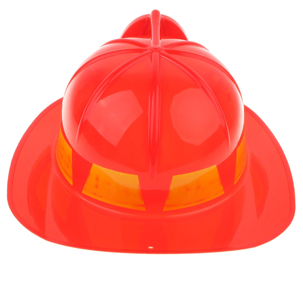 Pretend Play Children Plastic Fireman Helmet Chief Hat Fancy Dress Role Playing - Red