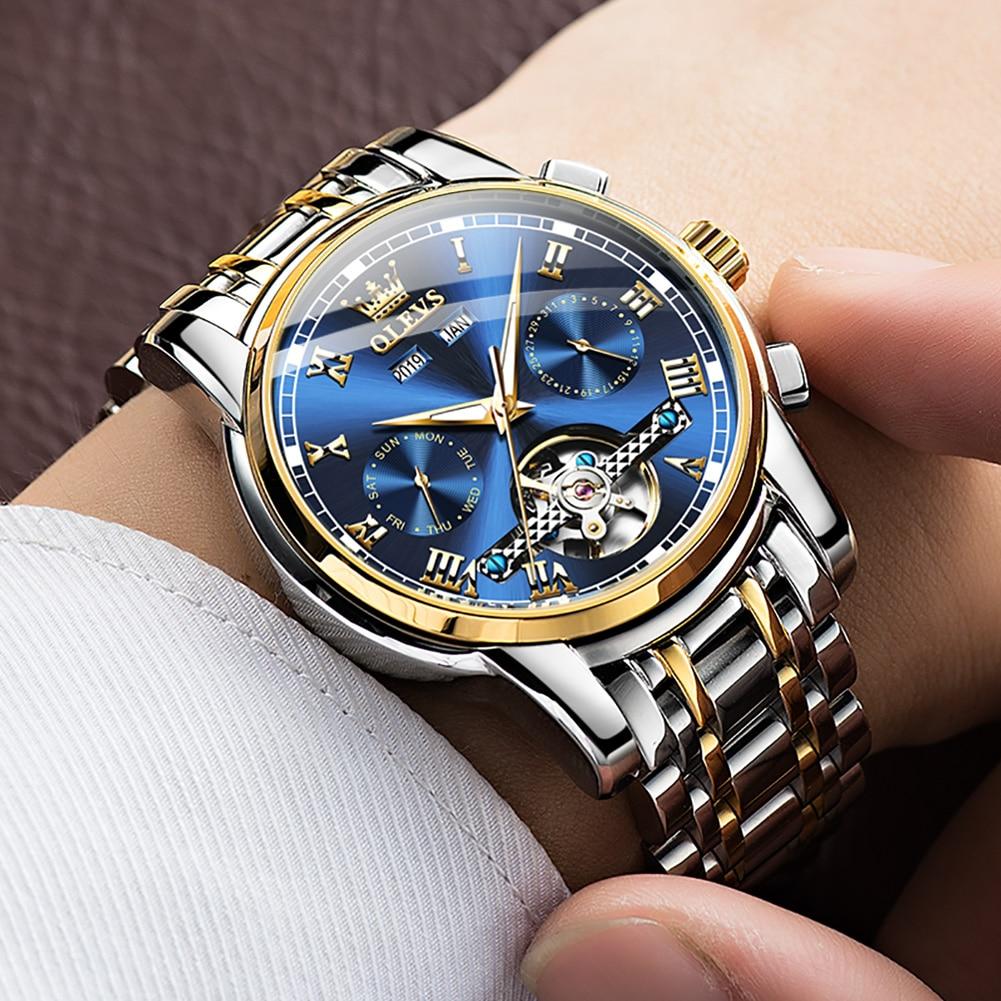 OLEVS brand watch is popular live broadcast Tourbillon fully automatic waterproof mechanical watch multi function men's watch enlarge