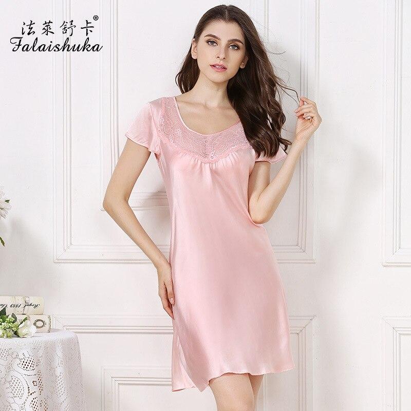 16 momme 100% الحرير النساء قمصان النوم الصيف قصيرة الأكمام نوبل مثير الدانتيل فستان النوم 100% الحرير الطبيعي فستان سهرة المرأة S3616