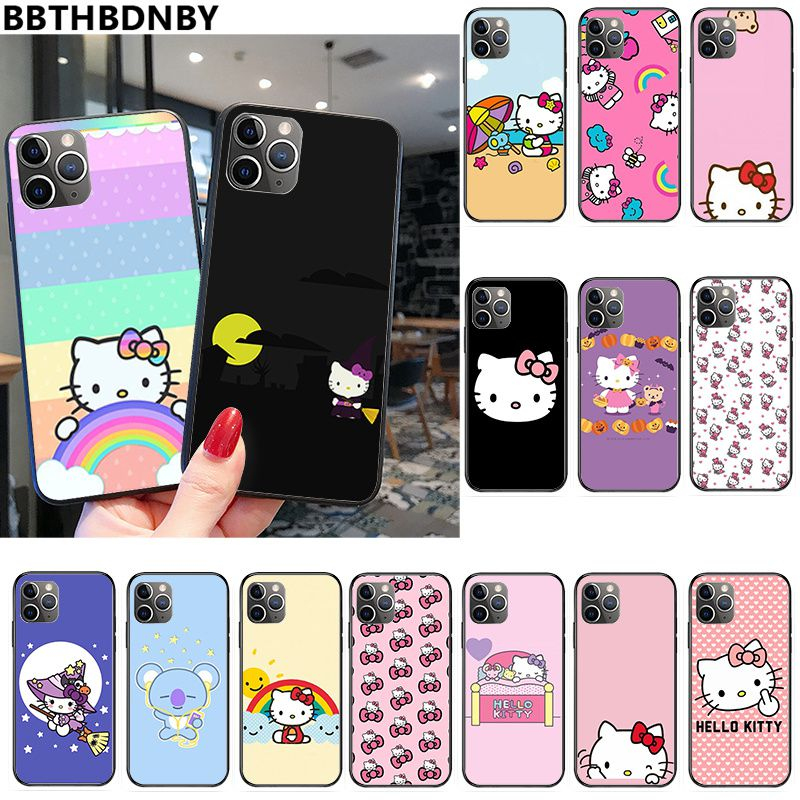 Para iPhone 8 Hello Kitty Fundas protectoras coloridas bonitas para iPhone 11 pro XS MAX 8 7 6 6S Plus X 5 5S SE XR funda