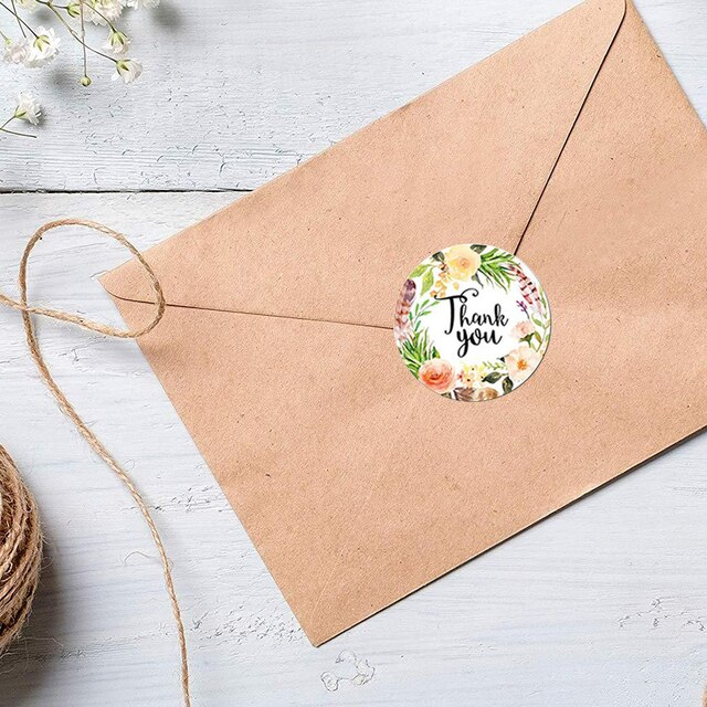 500pcs/Roll Round Floral Thank You Sealed Label Sticker 8