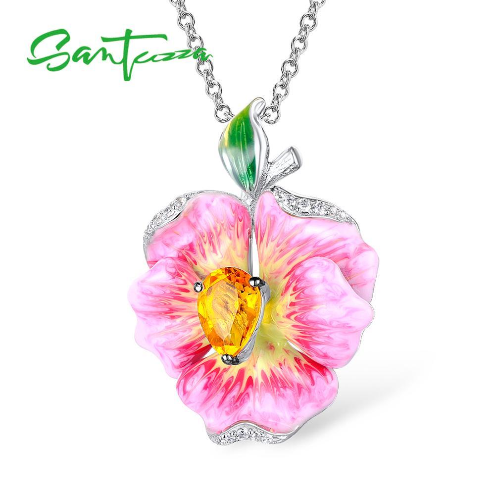 Colgante de plata de ley 925 para mujer de SANTUZZA, elegante colgante de flores de lujo, delicado de moda, joyería hecha a mano con esmalte