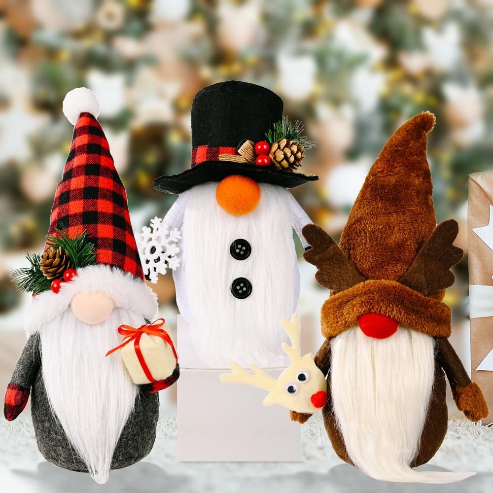 Christmas Rudolph Faceless Doll Swedish Tomte Gnome Plush Gift Xmas Tree Party Ornaments