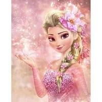 Peinture diamant theme Disney  broderie de princesse Elsa la reine des neiges  decoration complete  carree ou ronde  pour la maison