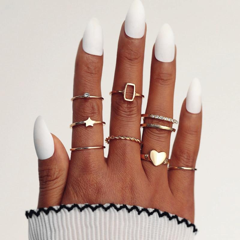 KISSWIFE 8 Pcs/set Women Fashion Rings Hearts Stars Geometric Crystal Gold Rings Set Boho Retro Party Jewelry Midi Gifts