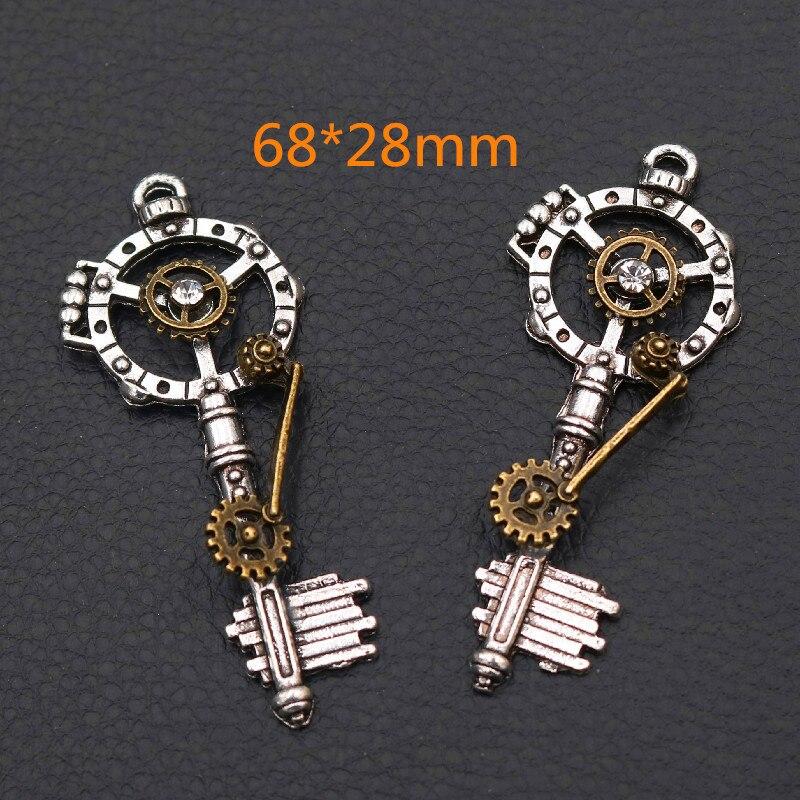 2 pçs retro 3d chave pingentes, 68*28mm chave encantos, steampunk encantos, strass artesanal encantos, diy artesanato de metal a2143